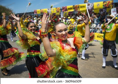 Barranquilla, Colombia - March 1, 2014: People at the carnival parades in the Carnival of Barranquilla, in Colombia.
