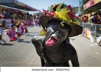 Barranquilla, Colombia - March 2, 2014: People at the carnival parades in the Carnival of Barranquilla, in Colombia.