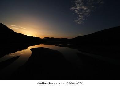 Barrea lake at sunrise