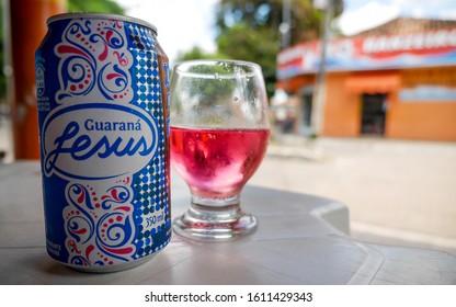 BARREIRINHAS, BRAZIL - 3 JULY 2014: Guarana Jesus soft drink. A popular Brazilian beverage made of the Guarana plant providing similar stimulants to caffeine.