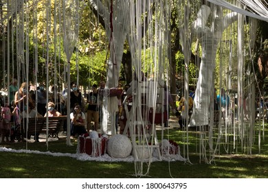 Barreiro Setúbal Portugal August 22, 2020 artistic intervention in public space by the PIA group. Theater and music in the park