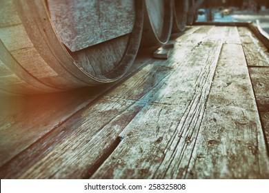 Barrel Casks Wood. Old barrel liquor casks outdoors during winter, wood with copy space. Slight vintage filter added.
