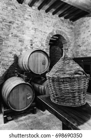 The barrel containing the red Montepulciano wine noble in Siena, Tuscany