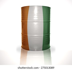 barrel with cote divoire flag on the white background