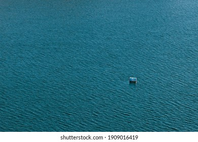 Barrel floating on the water