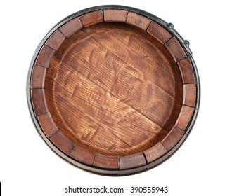 Barrel front view on white background
