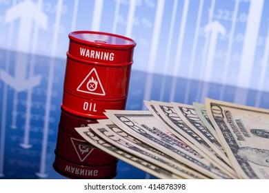 barrel oil, dollars on blue chart