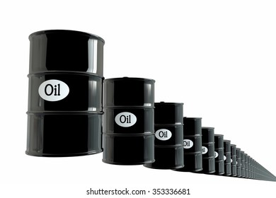 Barrel of oil on white background. business concept. Dollars.