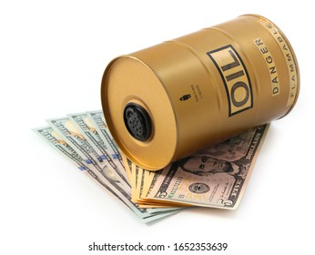 a barrel of oil sits on a pile of American banknotes dollars