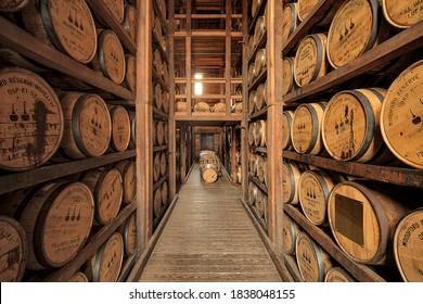Barrel room, Woodford Reserve, Versailles, Kentucky.