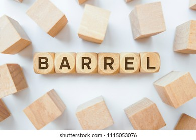 Barrel word on wooden cubes