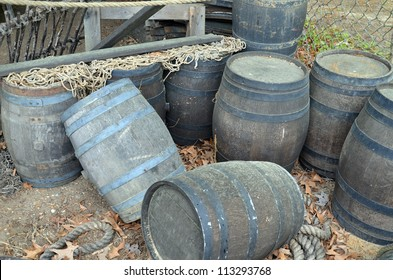 Barrels awaiting to be loaded