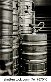 Barrels of beer at the brewery