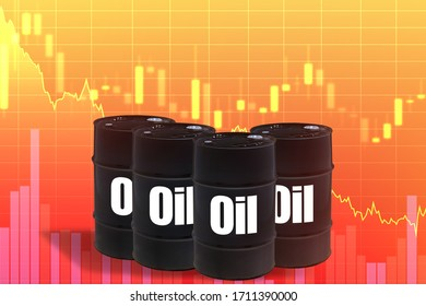 Barrels of crude oil on a red background. The inscription oil on black barrels. Concept - drop in oil prices. Falling charts as a symbol of falling prices. Concept - reduce hydrocarbon consumption.