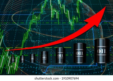 Barrels of oil, The concept of rising oil prices. The arrow of oil indicates the price. Business concept. Mixed media