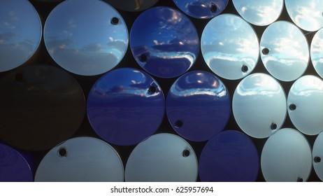 Barrels of oil near petrol plant, refinery. 3d rendering.