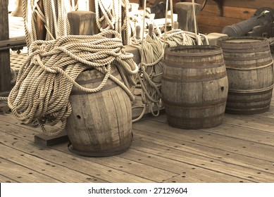 Barrels on the deck of pirates ship