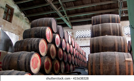 Barrels for rum stacked in the cellar, Havana, Cuba