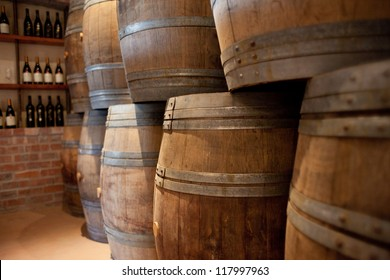 Barrels of South African wine stacked for sale