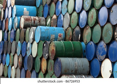 barrels stack in row