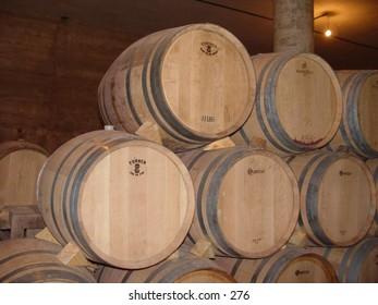 Barrels in a vineyard.