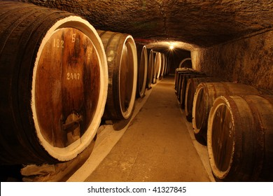 barrels with the wine alcohol