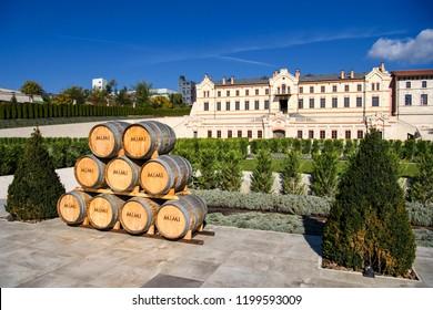 Barrels of wine in Castel Mimi Wine Resort at day, BULBOACA, MOLDOVA. 05-10-2018