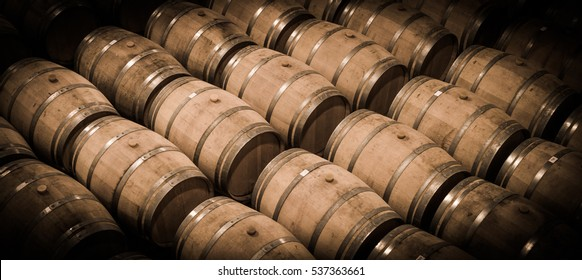 Barrels in Wine Cellar-Bordeaux Wineyard, France, Europe