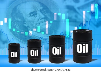 Barrels with the words oil. Size of the barrels is gradually increasing. Concept - rise in hydrocarbon prices. Crude petroleum prices are rising rapidly. Charts show growth. Increase in oil revenues