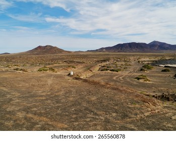 The barren desert on the Jandis peninsula at the south west end of the Canary Island Fuerteventura in Spain