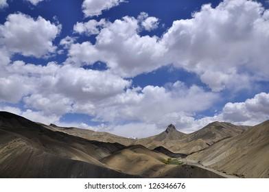 Barren landscape with cclouds