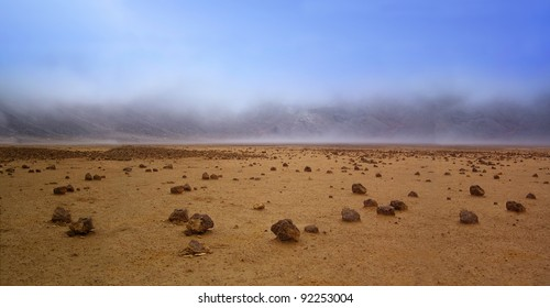 Barren landscape of the planet Mars