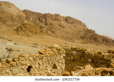 The barren mountainous wilderness at Qumran the historic archaeological site of the Dead Sea Scrolls in Israel