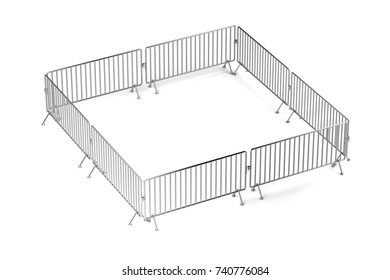 Barricaded square with mobile steel fences, 3D illustration