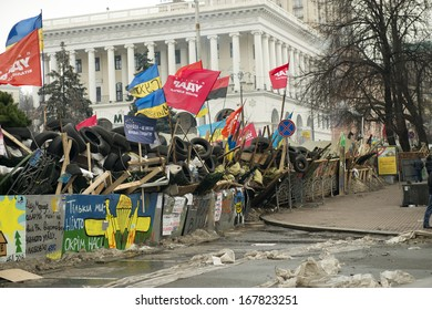 Barricades in the streets of Kyiv, December 17, 2013 during the political crisis in Ukraine