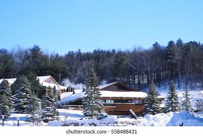 Barrie, Canada - January 8, 2017: Horseshoe ski resort in Barrie, Ontario, Canada.