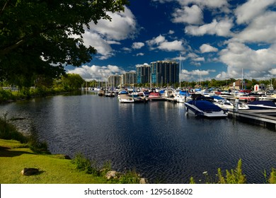 Barrie, Ontario, Canada - August 10, 2013: Morning at Barrie Ontario Marina on Kempenfelt Bay with boats and condos