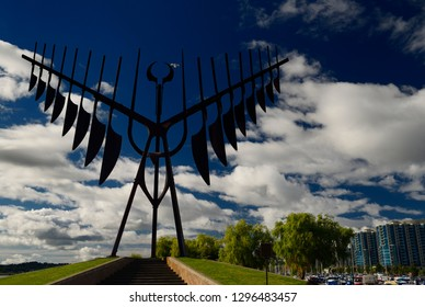 Barrie, Ontario, Canada - August 10, 2013: Spirit Catcher sculpture at Barrie Ontario marina on Kempenfelt Bay