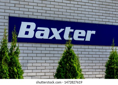 Barrie, Ontario, Canada - August 4, 2019: Sign of Baxter on the plant building in Barrie, Ontario, Canada. Baxter International Inc. is a American company provides a renal and hospital products.