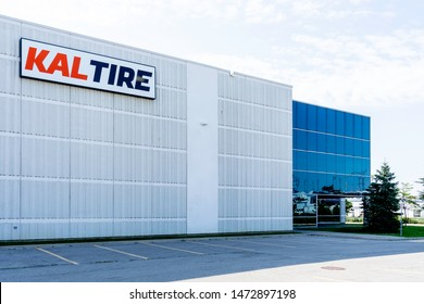 Barrie, Ontario, Canada - August 4, 2019: Sign of Kal Tire on the building in Barrie, Ontario, Canada. Kal Tire is Canada's largest independent tire dealer serving retail, commercial and mining.