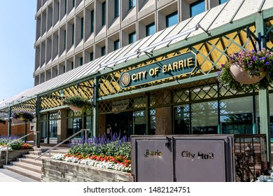 Barrie, Ontario, Canada - August 4, 2019: Entrance of Barrie City Hall. Barrie is a city, and manifesting regional centre in Central Ontario, Canada.