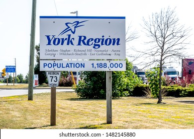 Barrie, Ontario, Canada - August 4, 2019: Sign of York Region. The Regional Municipality of York, also called York Region, is a regional municipality in Southern Ontario, Canada,