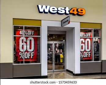 Barrie, Ontario, Canada - August 4, 2019: West 49 storefront in Niagara Falls, Ontario; West 49 is a Canadian retailer of fashion and apparel, footwear, accessories, and equipment.