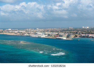 Barrier of coral in front of the commercial port of the city of Oranjestad in Aruba. Netherlands Antilles