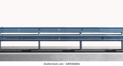 Barrier, designed to prevent the exit of the vehicle from the curb or bridge, moving across the dividing strip. Guarding rail panorama isolated on white background