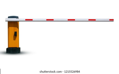 Barrier in the parking lot for security on white background  With clipping path
