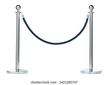 Barrier rope isolated on white. Silver. Luxury, VIP concept, Blue block