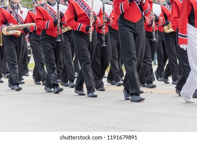 Barrington, IL/USA - 09-29-2018: High school marching band performing in homecoming parade