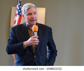 BARRINGTON, RHODE ISLAND/USA- March 4, 2018: United States Senator Sheldon Whitehouse attends a Town hall meeting in Barrington, RI on March 4, 2018.