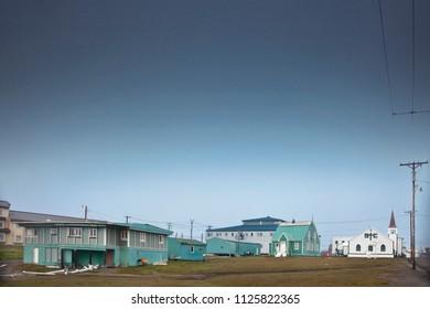 Barrow, Alaska, USA – August 22, 2010: Panoramic view of an Inuit village